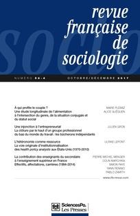 REVUE FRANCAISE DE SOCIOLOGIE. 4, 01/10/2017 |