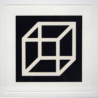 Open cube in white on black / Sol Lewitt | Lewitt, Sol. Auteur